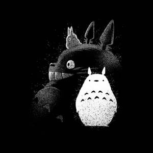Cloud City 7 (Large, Black) Inking Totoro Profile My Neighbor Totoro Women's Hooded Sweatshir