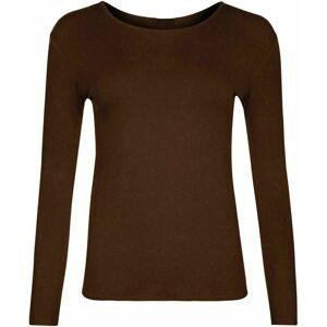 21Fashion (Brown, S/M) Ladies Plain Long Sleeve Round Neck Shirt Top