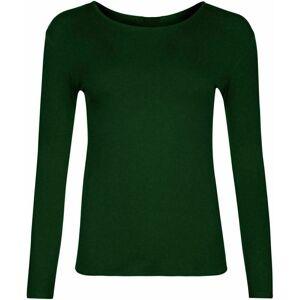 21Fashion (Bottle Green, S/M) Ladies Plain Long Sleeve Round Neck Shirt Top