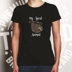 Tim And Ted (XL, White) Novelty Lazy Womens TShirt My Spirit Animal Is A Sloth Sleepy Bed Jo