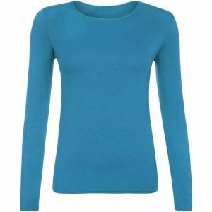 21Fashion (Turquoise, S/M) Ladies Plain Long Sleeve Round Neck Shirt Top