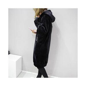 Unbranded New Velvet Coat Women Hooded Long Velvet Coat Winter Casual Black Loose Women\'s