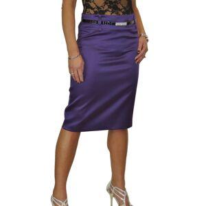 icecoolfashion (Matte Satin Purple, 12) Women's Stretch Satin Pencil Skirt Bodycon Party With B