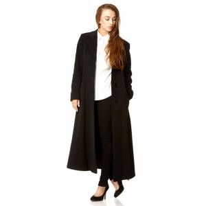 De La Creme (Black, 14) De La Creme Women's Longline Slim Fit Wool Coat