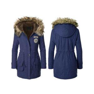 JS One (Navy Blue, M / UK Size 8-10) Womens Faux Fur Trim Hood Long Winter Parka Coat
