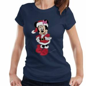 Disney (M, Navy Blue) Disney Christmas Minnie As Santa With Pink Bow Women's T-Shirt