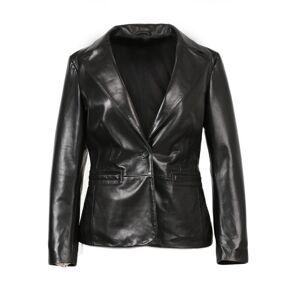 Inland Leather Co. (Black, M) Ornella Womens 1 Button New Zealand Leather Blazer