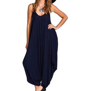 Re Tech UK (24, Sleeveless Navy Blue) Ladies Baggy Harem Jumpsuit Romper Sleeveless All In