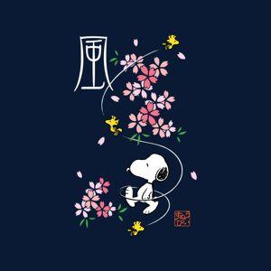Peanuts (Medium, Navy Blue) Peanuts Snoopy & Woodstock Japan Cherry Blossom Women's Hood