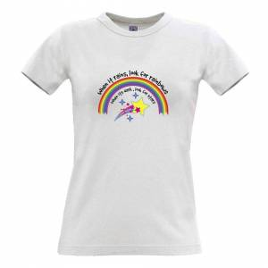 Tim And Ted (XXL, White) Inspirational Womens TShirt When It Rains, Look For Rainbows Slogan