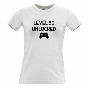 Tim And Ted (S, White) Gamers 30th Birthday Womens TShirt Level 30 Unlocked Slogan Console P