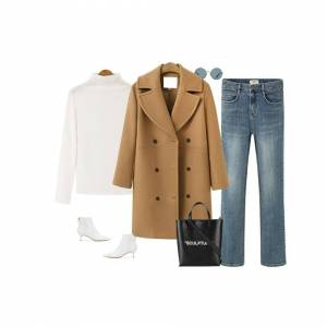 JS One (Khaki, S / UK Size 6-8) Womens Long Double Breasted Trench Coat Overcoat