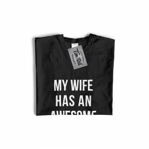 Tim And Ted (L, White) Joke Couples Womens TShirt My Wife Has An Awesome Wife Cute Gay Valen