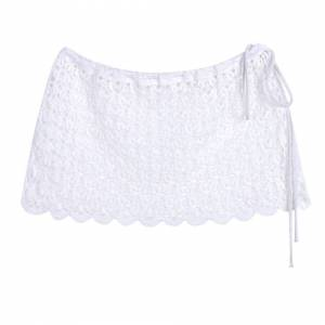 WT Lace Beach Cover Up Skirt Sexy Crochet Knitted Short Bathing Swim Suit