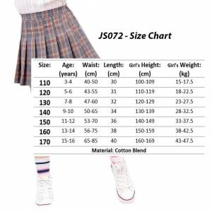 JS One (8# Navy Blue, 120cm / Age5-6 Years) Girls High Waisted Pleated Zip Tennis Style