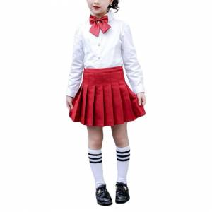 JS One (5# Red, 120cm / Age5-6 Years) Girls High Waisted Pleated Zip Tennis Style Skate