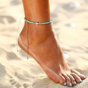 Mini Trinkets Ladies Girls Womens Cute Stylish Turquoise Bohemian Star Beaded Anklet