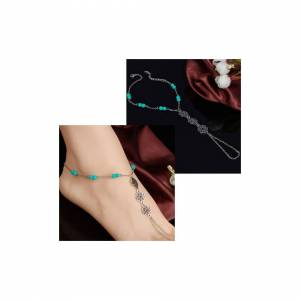 Simply My Love Blue Beads Fashion Anklet Ankle Bracelet Women Foot Chain Beach Jewellery Jewelr