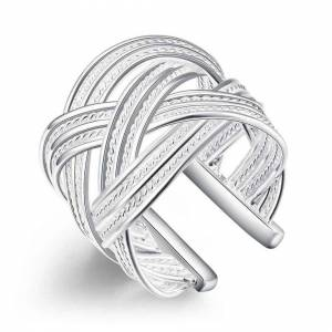 Cadoline Silver Plated Lattice Ring Size P 1/2 (UK) Adjustable Woven Patterned Thumb Open