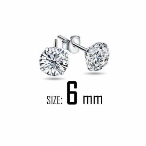 Cadoline Silver Plated 6mm Simple Small Crystal Stud Earrings Mens Womens Gift