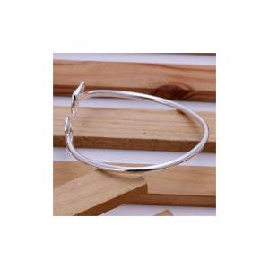 Cadoline Silver Plated Flat Hollow Heart Bangle Diameter 8 Inch Adjustable Double Love Br