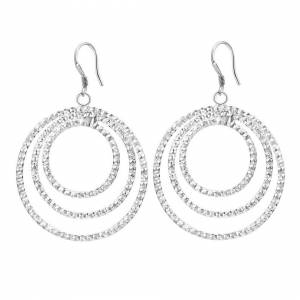 Cadoline Silver Plated Round Multi Circle Frosted Patterned Drop Dangle Earrings