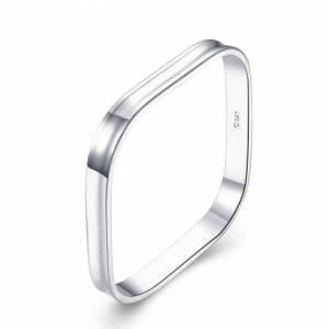Cadoline Silver Plated 7mm Thick Inverted Square Shape Slave Bracelet Bangle 7cm