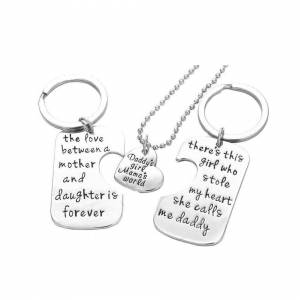 Cadoline Silver-Tone 'The Love Between Mother Daughter Is Forever' 'This Girl Stole My He
