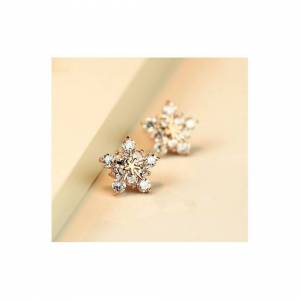 Cadoline Gold-Tone Tight Rhinestone Snowflake Stud Earrings 1.4 x 1.4cm Small Clear Chris