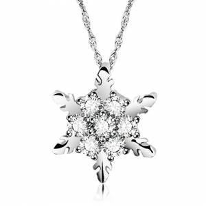 Cadoline Silver Plated Christmas White Crystal Snowflake Pendant Necklace Gift