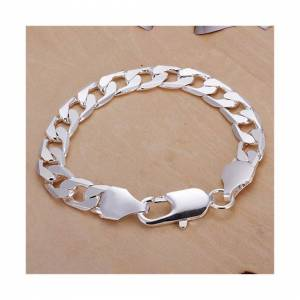 Cadoline Silver Plated Large Flat Curb Link Chain Bracelet Anklet Mens Womens Gift