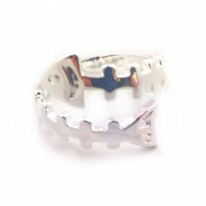 Cadoline Silver Plated Fish Bone Ring Size P 1/2 (UK) Adjustable Open Mens Thumb Gift Wra