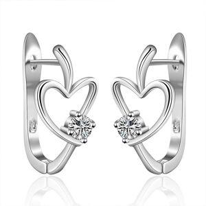 Cadoline Silver Plated Hollow Love Heart Hoop Earrings Crystal Clip Stud Gem Hoops