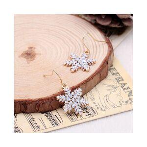 Cadoline Silver-Tone Glitter Snowflake Drop Dangle Hook Earrings 4.0cm Christmas Snow Lad