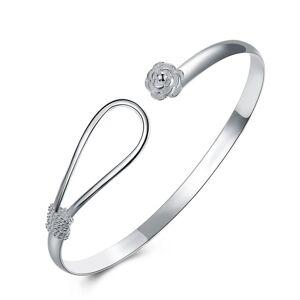 Cadoline Silver Plated Simple Statement Flower Rose Interlock Bracelet Bangle Gift
