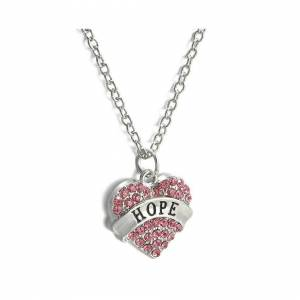 Cadoline Silver-Tone Coloured Heart Hope Pink Engraved Pendant Necklace 2.0 x 2.0cm With