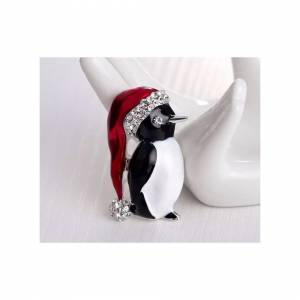 Cadoline Silver-Tone Penguin With Hat Brooch 4.0 x 2.0cm Christmas Rhinestone Santa Pin X