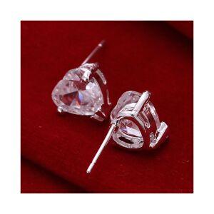 Cadoline Silver Plated Rhinestone Heart Stud Earrings 0.9 x 0.9cm Simple Clear Rhinestone
