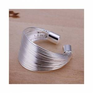Cadoline Silver Plated Wire Shield Ring Size P 1/2 (UK) Adjustable Open Statement Thumb M