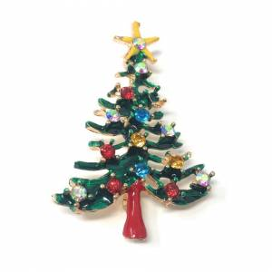 Cadoline Silver-Tone Thin Green Tree With Yellow Star Brooch 3.5 x 5.0cm Traditional Chri