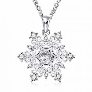 Cadoline Silver Elegant Filigree Crystal Christmas Snowflake Pendant Necklace