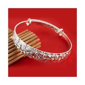 Cadoline Silver Plated Diamond Cut Patterned Adjustable Bangle Bracelet Engraved