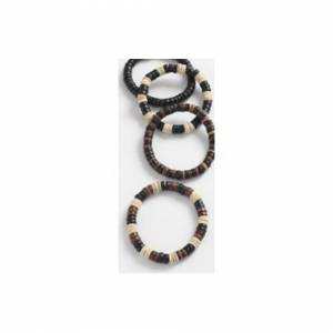 The Home Fusion Company Men Boys Ladies Surf Surfer Stretch Wooden Bead Bracelet Darker Natural Colours