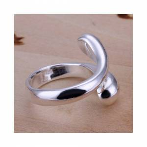 Cadoline Silver Plated Drop Ring Size P 1/2 (UK) Adjustable Tear Love Rain Thumb Water Dr