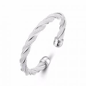 Cadoline Silver Plated Twirl Mesh Bangle Diameter 6.5cm Adjustable Open Twisted Chainmail