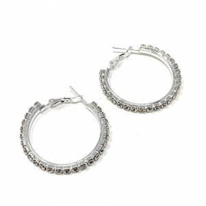 Cadoline Silver-Tone 3cm Large Hoop Crystal Sleeper Earrings Big Rhinestone Hoops