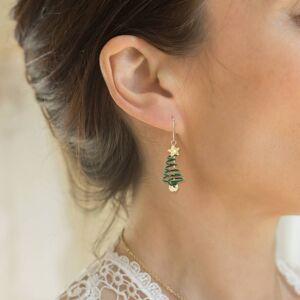 Mini Trinkets Gold Plated Spiral Christmas Tree Drop Earrings