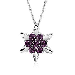 Cadoline Silver Plated Christmas Purple Crystal Snowflake Pendant Necklace Santa