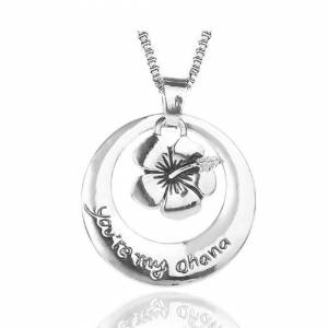 Cadoline Silver-Tone 'You're My Ohana' Engraved Pendant Necklace 2.5cm Diamater With 18 I