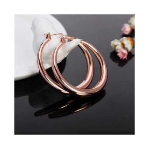 Cadoline Rose Gold-Tone Simple Polished Hoop Earrings 3.5 x 3.5cm